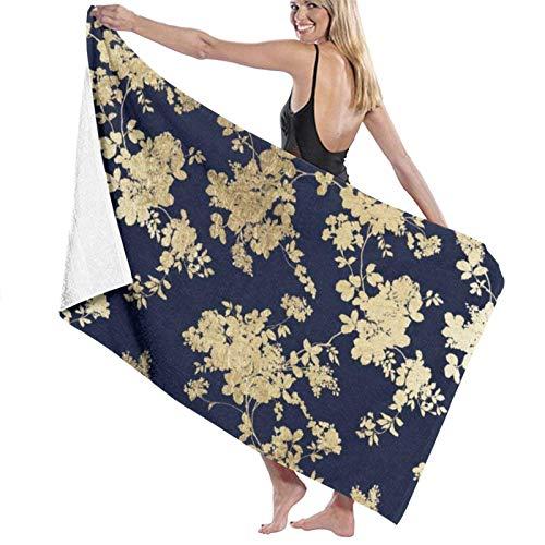 Toalla de playa de microfibra de microfibra de flores de imitación de oro azul marino vintage elegante para hombres y mujeres Toalla de baño de gran tamaño de secado rápido para viajes, piscina, playa