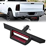 Rear 2'' Receiver Trailer Tow Hitch Step Bar Bumper Guard W/Led Brake Light for Truck SUV Van