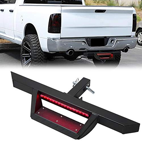 Rear 2'' Receiver Trailer Tow Hitch Step Bar Bumper Guard W/Led Brake Light for Truck SUV Van