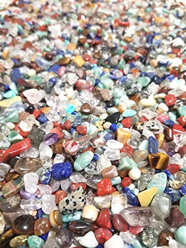 JM 1.1 lb Mixed Nature Stones & Crystal Tumbled Chips Gemstone Crushed Pieces Irregular Shaped Jewelry Making Home Crafts Projects Flower Pot Fish Tank Decoration Gift