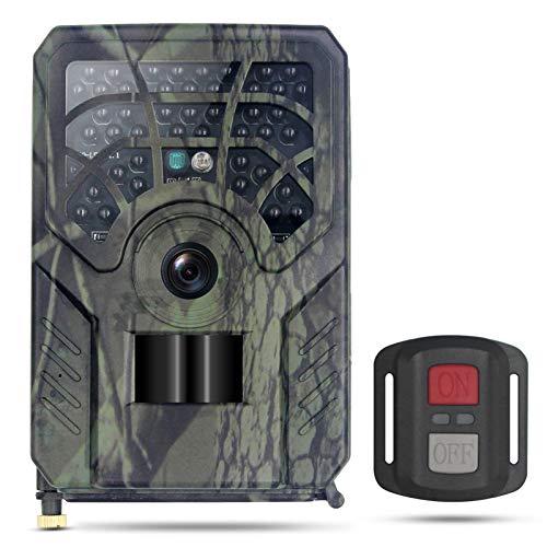 Lixada Fototrappola WiFi con Telecomando 1296P 24MP 46LED a Infrarossi 0.2-0.6s Movimento Attivato Visione Notturna Impermeabile Fotocamera da Caccia per L osservazione di Piante e Animali