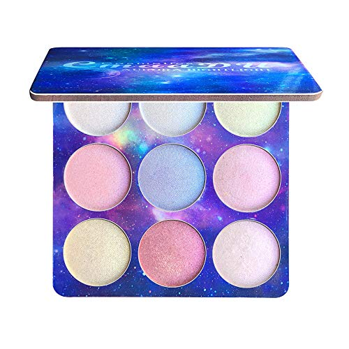 Lomsarsh 9 Colores Destacados Sombra de Ojos Camaleón Brillo Brillante Sombra de Ojos Desnuda Paleta Paleta Polvo a Prueba de Agua Maquillaje Natural Suave Brillante Belleza Sombra de Ojos Kit de