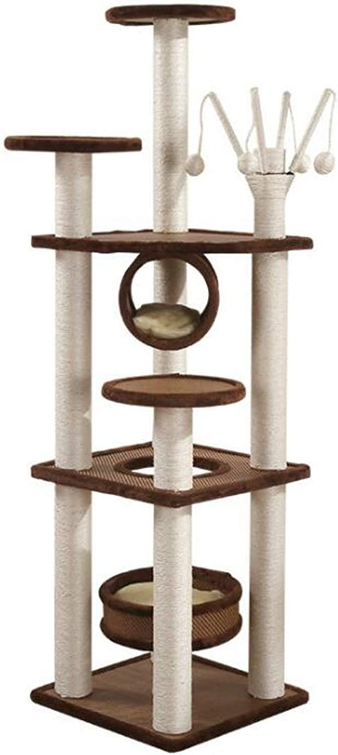 Cat Tree Sword Rope, Cat Climbing Frame, Cat Furniture Cat Litter, One Shelf Cat Tower + Tree House MultiLayer Sword Rope + Imitation Rope Sisal + Funny Cat Stick, Play with multiple big cats