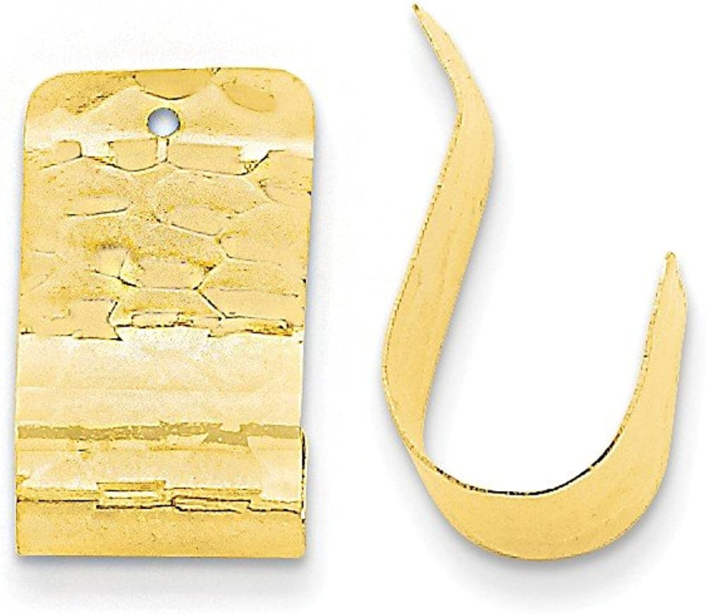 Genuine 14k Yellow Gold Polished Hammered Earring Jackets 18x11mm