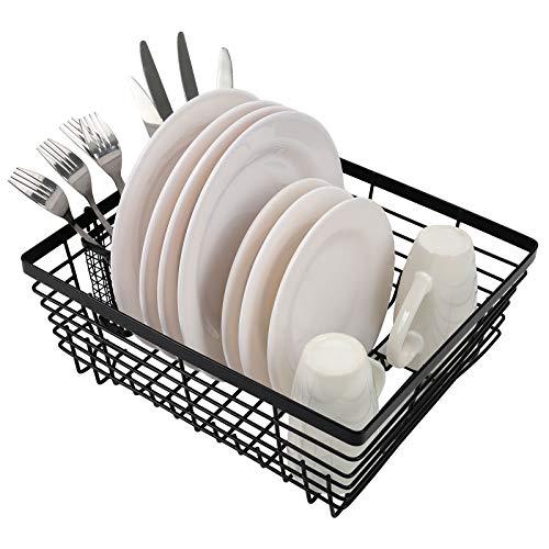 TQVAI Kitchen Dish Drying Rack Metal Dish Drainer with Full-Mesh Silverware Utensils Basket Holder, Black
