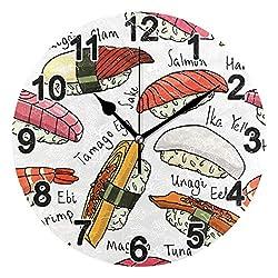 CHSIN Cartoon Sushi Japan Delicacy Wall Clock Non Ticking for Girl Boy Bedroom 9.8 Inch Acrylic Clock for Bathroom Kitchen Living Room Office School (21206480)