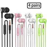 Heavy bass Earphone Color Call with Mic Stereo Earbud Headphones Mixed Colors (Black + White + Pink + Green 4 Pairs)