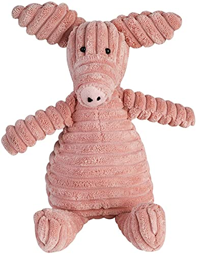 Plush Squeaky Dog Toys - TOYSBOOM Interactive Dog Toys for Dogs,Tough Durable Stuffed Pet Toys for Training (Pig Pink Nose)