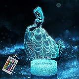 Veilleuse Princesse 3D pour Enfants, Fille Lampe LED USB Veilleuse Illusion, 16 Couleurs Changeantes avec Télécommande pour Enfants Adultes Cadeau d'anniversaire et de vacances