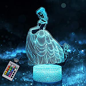 Princess Night Light for Kids, Dimmable LED Bedside Lamp, 16 Color Changing Night Lamp with Remote Control, Princess Toy Birthday Gifts for Baby Children Girls