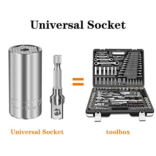 Universal Socket Tools Gifts,7mm-19mm Tool Sets with Power Drill Adapter,Best Christmas Gifts for Men, DIY Handyman, Father/Dad, Husband, Boyfriend, Him, Women