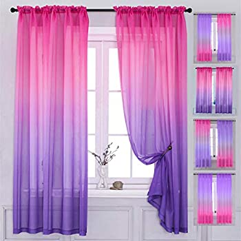 Yancorp 2 Panel Sets Bedroom Curtains 63 inch Length Sheer Curtain Pink Purple Ombre Curtains Rod Pocket Drapes for Girls Living Room Mermaid Bedroom Nursery Kid Window Decor Pink Purple 40 x63