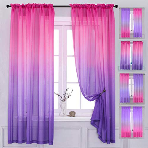 """Yancorp Bedroom Curtains 63 inch Length Sheer Curtain Pink Purple Ombre Curtains Rod Pocket Drapes for Girls Living Room Mermaid Bedroom Nursery Kid Window Decor(Pink Purple, 40""""x63"""")"""