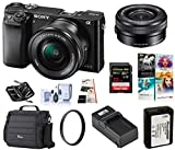 Sony Alpha a6000 Mirrorless Digital Camera 24.3MP SLR Camera (Black) w/16-50mm Power Zoom Lens | Cam Bag + Extra Battery + Base Charger + 32 GB SD Card + Memory Wallet + PC Software + UV Filter & More