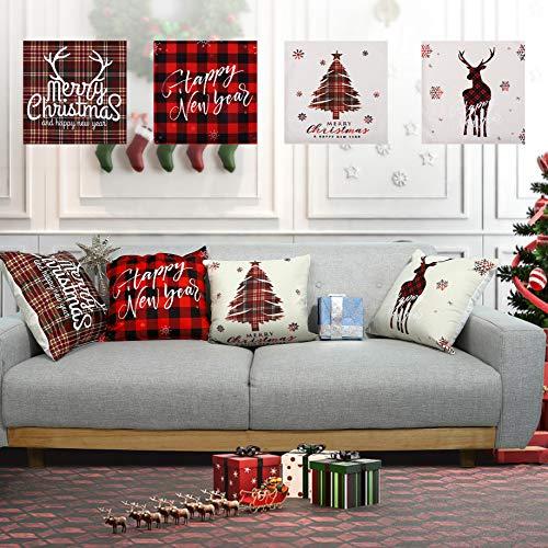MoKo Federe per Cuscino Natalizie [4 Pezzi], con Modello Natale Federa per Divano Morbida a Casa Soggiorno Camera da Letto Decorazione per Interni, 45x45 cm, Set di 4 Pezzi - Rosso & Verde