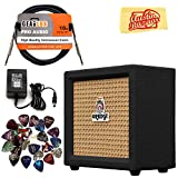 Orange Crush Mini Guitar Combo Amplifier - Black Bundle with Power Supply, Instrument Cable, 24 Picks, and Austin Bazaar Polishing Cloth