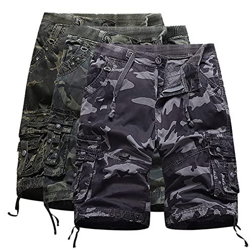 Männer Shorts Cargohose Casual Loose Herren Cargo Hose Sport Fitness Laufhose Männer Camo Hosen Haremshosen Overalls Hiphop Punk Pants Jogger Jungen Schwarz Unisex Outdoors