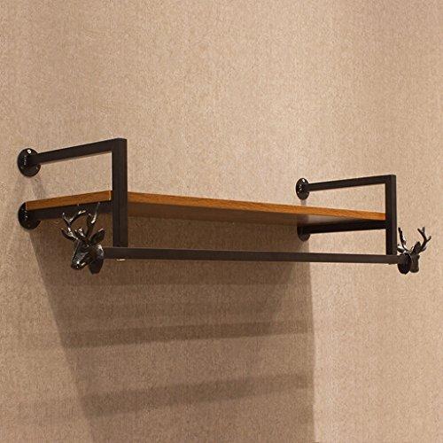 XAGB Madera Hierro de la Vendimia Perchero Gancho de la Pared Gancho de Ropa de combinación Zapatos Perchas (Color : Black, Size : 105cm)