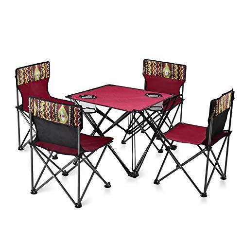 Klappbarer Tisch und Stühle Set mit Getränkehalter, Tragbarer 4 Stühle 1 Tisch, Ultraleichter Outdoor...