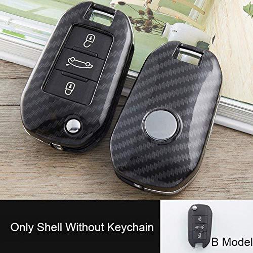 Hunulu Carcasa de Llave de Coche de Carbono para Peugeot 207, 307, 308 para Citroen C2 C3 C4 C5 C6 C8, 3 Botones, Funda Protectora de Carcasa de Mando a Distancia Plegable