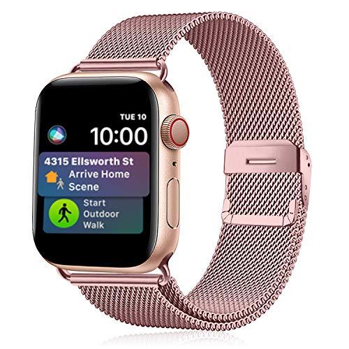 Funbiz Metallo Cinturino Compatible con Apple Watch 38mm 40mm 42mm 44mm, Bracciale di Ricambio Traspirante in Acciaio Inossidabile Compatibile con iWatch Series SE 6 5 4 3 2 1, 38mm/40mm-Oro Rosa