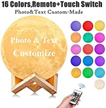 3D Moon Lamp - Rechargeable Night Light,16 LED Colors, Dimmable, (Standard, 4.7in) with Wooden Stand, Remote & Touch Contr...