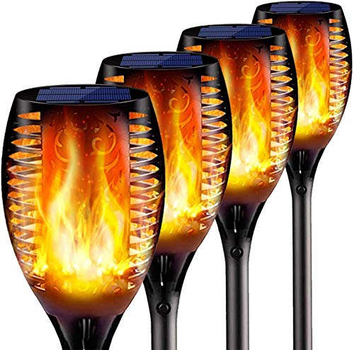 COOLEAD 4 Pcs Luces Solares Led Exterior Jardin,Antorcha Led,IP65 Impermeable Llama Solar Luces Efecto de Llama Realista,Atardecer Encendido/Apagado Automático(10×10×58cm)