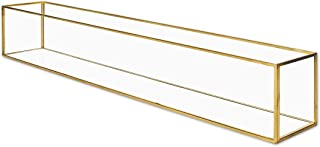 Koyal Wholesale Long Glass Candle Holder Centerpiece Box, Gold 24 x 4 x 4 Inches, Centerpiece Tray Decor, Long Wedding Table Centerpiece Decorations