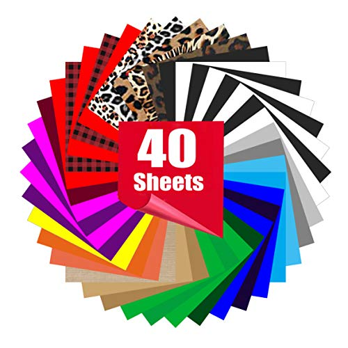 Heat Transfer Vinyl for T-Shirts 12in x10in 40 Sheets-Iron On Vinyl HTV Bundle