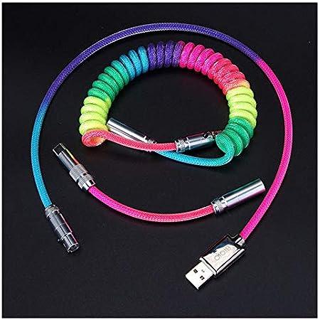 Cable USB Tipo C de Paracord en Espiral Personalizado con Conector XLR para Teclado Mecánico Versión Avanzada de 80cm (Arco Iris)