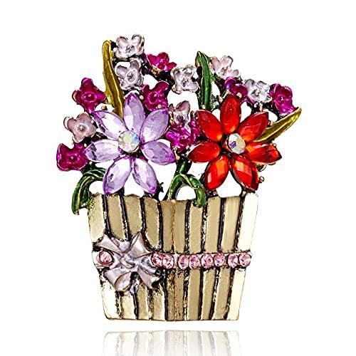 Broche de la cesta de la flor del Rhinestone Broche de la vendimia colorido para las mujeres diseño de moda joyería abrigo