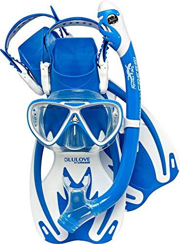 Cressi Unisex– Erwachsene Onda Mare Schnorchelset Tauchset Taucherbrille, Blau/Weiß, L/XL-34/38