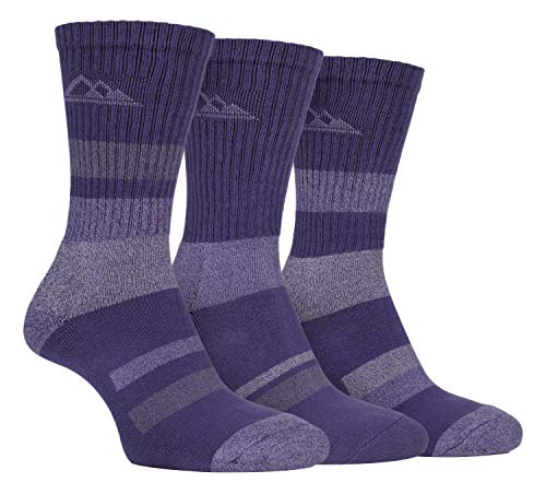 3 pares calcetines con suela acolchada para señora, antiampollas, ligero, transpirable, hecho de algodón, para andar en verano o irse de ruta, de Storm Bloc Morado SBLS002PUR 37-42