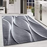 HomebyHome Kurzflor Teppich für Wohnzimmer-Teppich Läufer Schatten Muster Grau Schwarz Mel, Grösse:200x290 cm