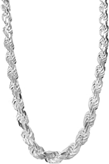 Rope Chain Necklace Sterling Silver Diamond-Cut Italian Made - 1.5mm-7.3mm - Sizes 16 to 30 Inches