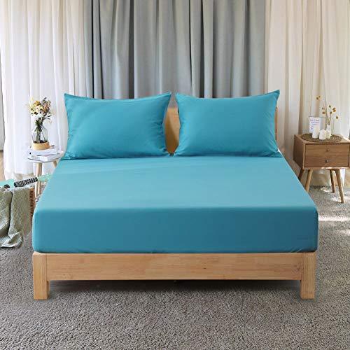 RUIKASI - Sábana Bajera Ajustable de Microfibra para Todas Las Estaciones, Cama matrimonial, 160 x 200 x 30 cm, Azul eléctrico