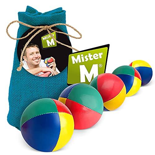 Mister M Jonglierbälle Anfänger 5er Set + Gratis Online Lehrvideo - 100g pro Jonglage Ball - Jonglierbälle Kinder Set im praktischen blauen Jutebeutel - Jonglieren Set auch geeignet für Profis