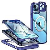 Neeliup Antigolpes Funda para iPhone 11 Pro MAX -360° Integrale Vidrio Templado Protecion con Protector de Pantalla Incorporado Compatible con mag-Safe de Carcasa Transparente Azul Cover