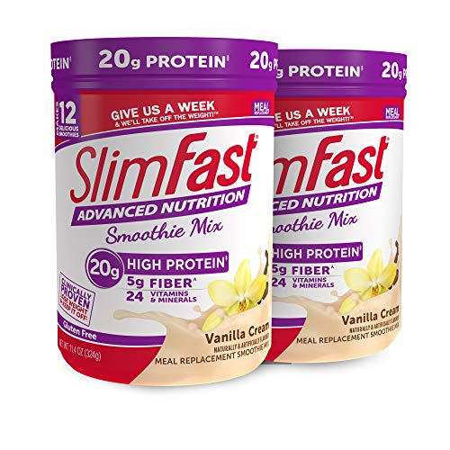 SlimFast Advanced Nutrition Vanilla Cream Smoothie Mix – Weight Loss Meal Replacement – 20g of protein – 11.01 oz. Canister – 12 servings Pack of 2