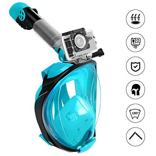Fenvella Maschera Subacquea, Maschera Snorkeling Integrale 180° Vista Panoramica, Anti-Appannamento Anti-Perdita Breath Easily Sub Maschera per Uomo Donna (Verde, L/XL)