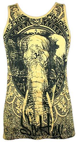 Sure Herren Tank Top - Om Ganesha Elefantengott Yoga Aum Yoga Buddha Yogi Zen Buddhismus Hinduismus Indien Ärmelfrei Männer Freizeit Kurzarm (Gelb L)