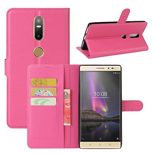 HualuBro Lenovo Phab 2 Plus Hülle, Leder Brieftasche Etui Tasche Schutzhülle HandyHülle [Standfunktion] Leather Wallet Flip Hülle Cover für Lenovo Phab 2 Plus (Rose)