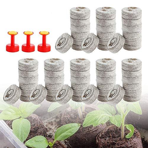 100 pastillas de turba con aspersor, base de semillas, macetas de turba, pastillas fuente de coco, pastillas fuente con nutrientes, tierra de siembra, pastillas de turba, pastillas para cultivos