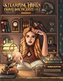 Steampunk Women Coloring Book for Adults 1 & 2