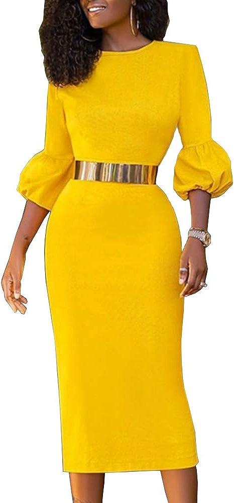 AOMEI Women's Yellow Crewneck 3/4 Sleeve Elegant Slim Pencil Midi Dress