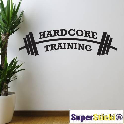 Hardcore Training Hantel 40x80 Wandtattoo Aufkleber Decal von SUPERSTICKI® aus Hochleistungsfolie für alle glatten Flächen UV und Waschanlagenfest Profi Qualität