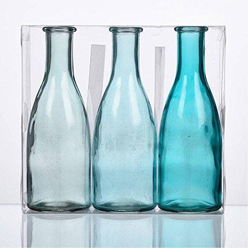 Sandra Rich 3er Pack Flaschenvasen Bottle H. 18,5cm D. 6,5cm blau türkis Glas