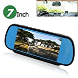 PONPY 7' TFT Color LCD Screen 2 Video Input Car Rear View Mirror Monitor Vehicle Parking In-mirror Monitor for DVD/VCR/Car Reverse Camera