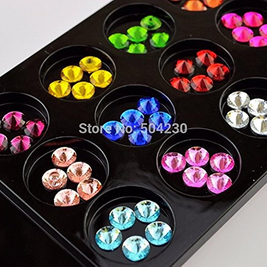 テーブルの頭の上コストIthern(TM)60PCS 3Dアクリルネイルアートの装飾ツールフラット戻るネイルラインストーン宝石の携帯電話の装飾アクセサリー6MM