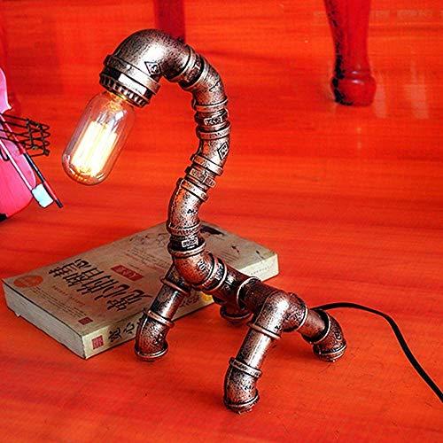 JKUNYU Lámpara de mesa con diseño de robot de hierro para loft, creativa, lámpara de tubo de agua, decoración de cafetería, bar, lámpara de mesa retro, 17 x 17 x 37 cm, alto sabor